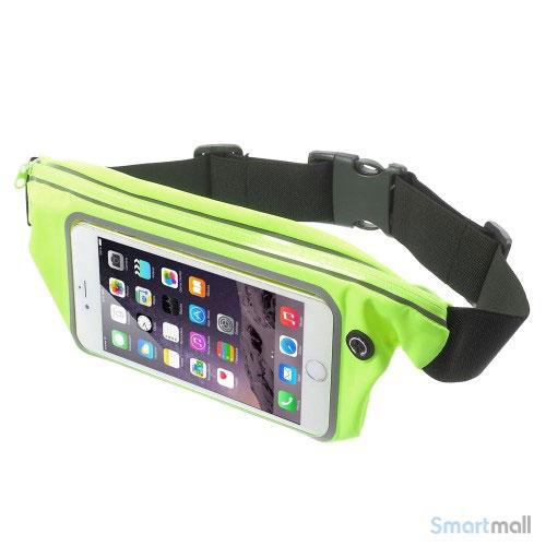 "Bæltetaske m/vindue touch & hovedtelefon stik til iPhone 7/6 PLUS/6"" skærm - Grøn"
