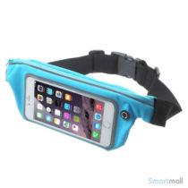 """Bæltetaske m/vindue touch & hovedtelefon stik til iPhone 7/6 PLUS/6"""" skærm - Baby blå"""
