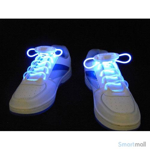 Cool LED snørebånd i skarpe farver - Blå