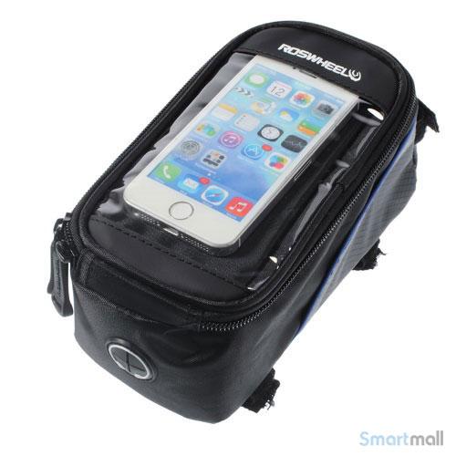 """Cykeltaske til smartphone fra Roswheel m/vindue til 4.2"""" skærm - Blå"""