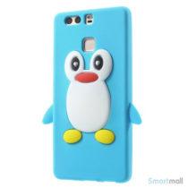 Huawei P9 3D pingvin cover i fleksibelt silikone - Blå