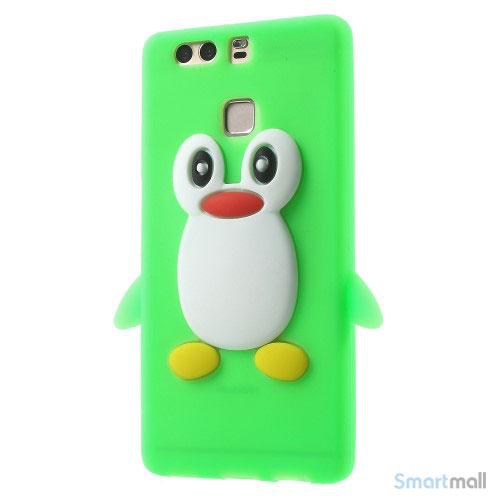 Huawei P9 3D pingvin cover i fleksibelt silikone - Grøn