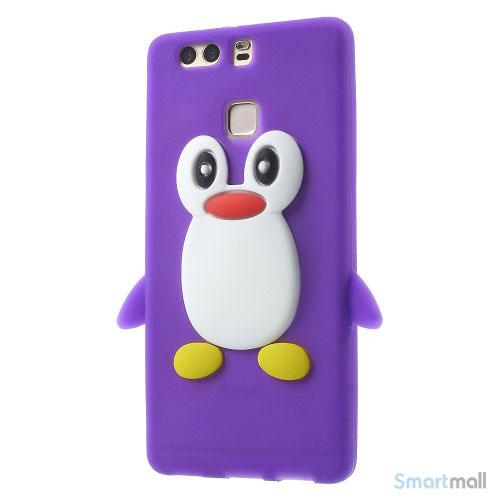 Huawei P9 3D pingvin cover i fleksibelt silikone - Lilla