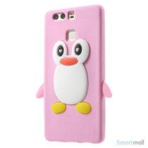 Huawei P9 3D pingvin cover i fleksibelt silikone - Pink