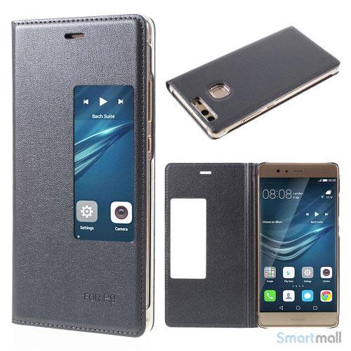 Huawei P9 flip-cover i læder m/vindue-touch - Grå