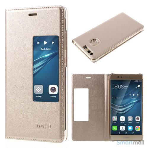 Huawei P9 flip-cover i læder m/vindue-touch - Guld