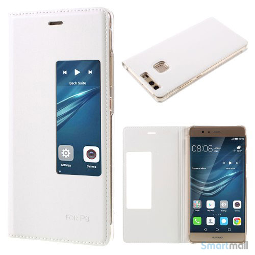 Huawei P9 flip-cover i læder m/vindue-touch - Hvid