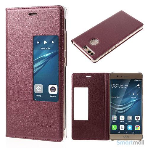 Huawei P9 flip-cover i læder m/vindue-touch - Rød