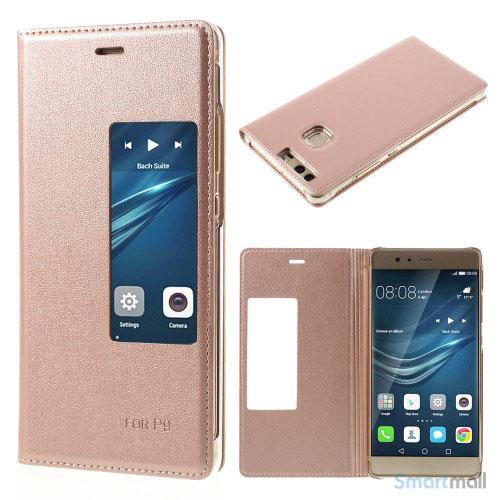 Huawei P9 flip-cover i læder m/vindue-touch - Rose guld