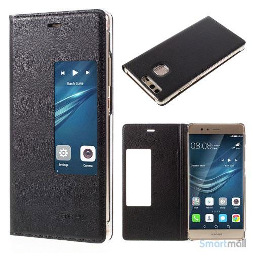 Huawei P9 flip-cover i læder m/vindue-touch - Sort
