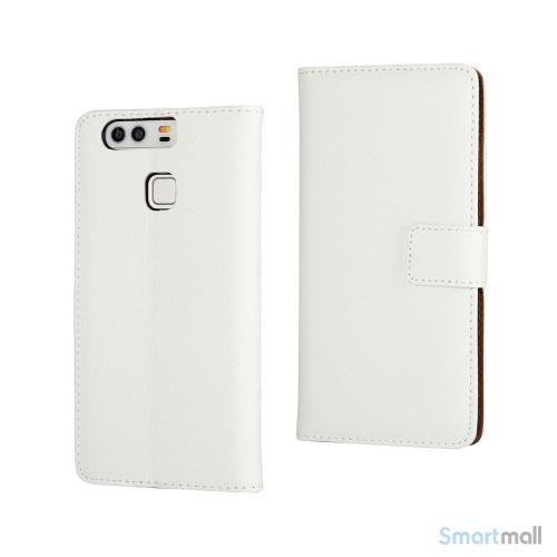 Klassisk & elegant flip-cover i læder til Huawei P9 - Hvid