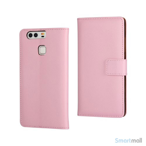 Klassisk & elegant flip-cover i læder til Huawei P9 - Pink