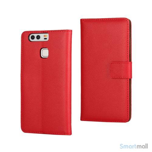 Klassisk & elegant flip-cover i læder til Huawei P9 - Rød