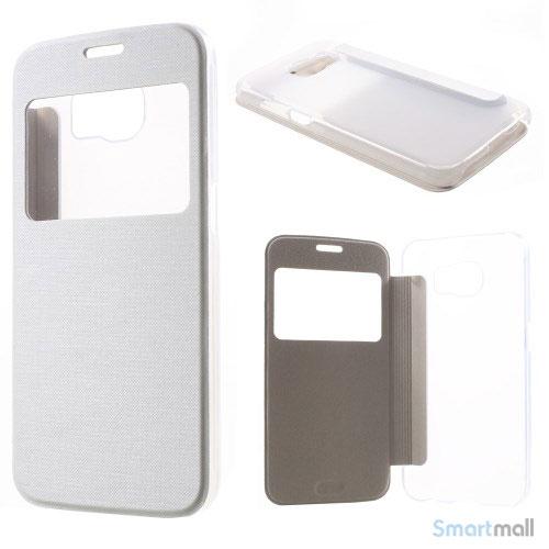 Læderfolie cover m/vindue & plastik bagside til Samsung Galaxy S6 G920 - Hvid