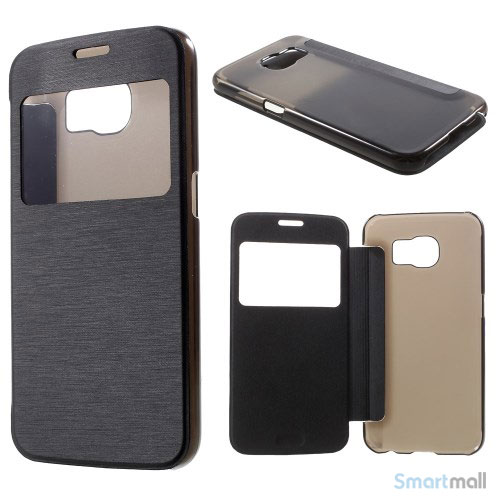Læderfolie cover m/vindue & plastik bagside til Samsung Galaxy S6 G920 - Sort