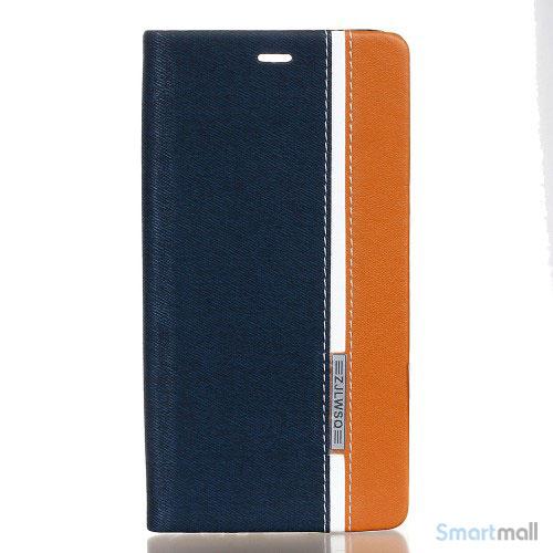 Lækkert farverigt lædercover m/stand til Huawei P9 - Mørkeblå