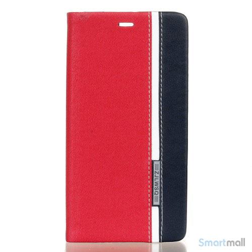 Lækkert farverigt lædercover m/stand til Huawei P9 - Rød