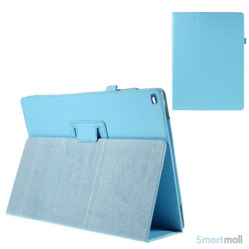 "Litchi Texture smart lædercover m/stand funktion til iPad Pro 12.9"" - Baby blå"