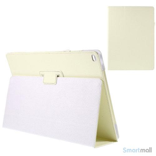 "Litchi Texture smart lædercover m/stand funktion til iPad Pro 12.9"" - Hvid"