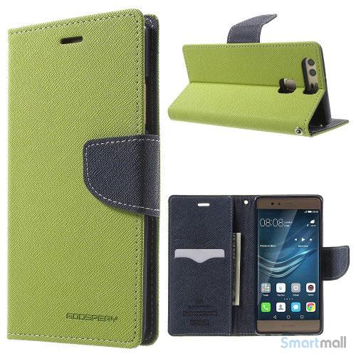 MERCURY GOOSPERY robust læderpungs cover til Huawei P9 - Grøn