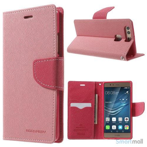 MERCURY GOOSPERY robust læderpungs cover til Huawei P9 - Pink