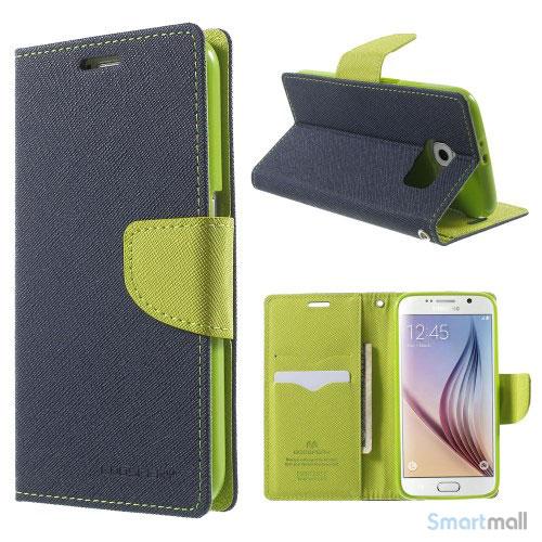 MERCURY Goospery Fancy Diary læderstands-cover til Galaxy S6 G920 - Blå