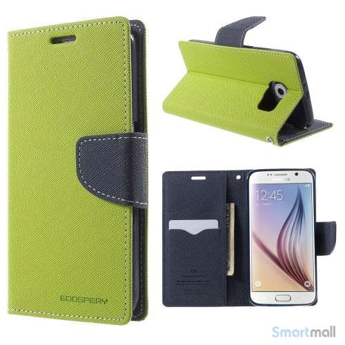 MERCURY Goospery Fancy Diary læderstands-cover til Galaxy S6 G920 - Grøn
