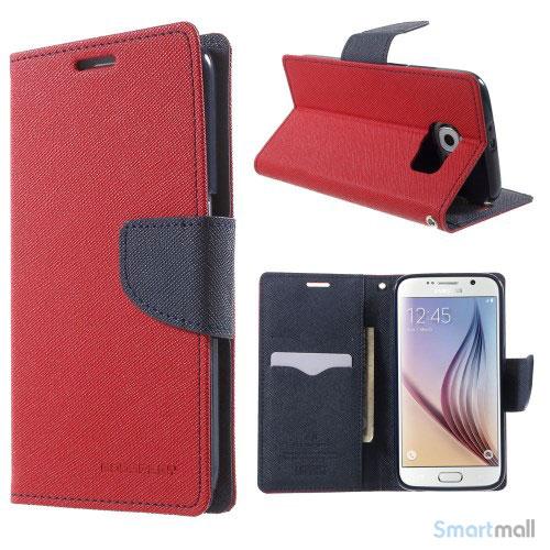 MERCURY Goospery Fancy Diary læderstands-cover til Galaxy S6 G920 - Rød