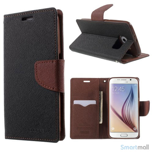 MERCURY Goospery Fancy Diary læderstands-cover til Galaxy S6 G920 - Sort