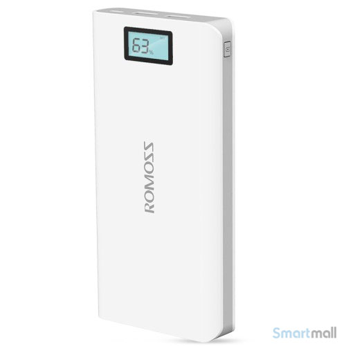 ROMOSS 20000mAh 2.1A powerbank m/LCD display til iPhone/Samsung/pokemon/mfl