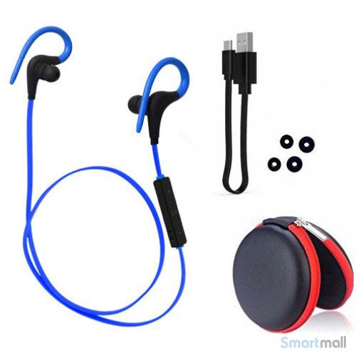 Trådløse sports høretelefoner m/fjernbetjening & støj reducering - Blå