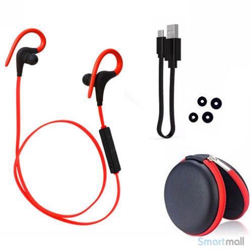 Trådløse sports høretelefoner m/fjernbetjening & støj reducering - Rød