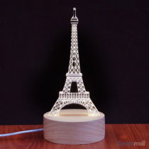Unik Eiffel Tower 3D illusion natlampe med LED lys & USB kabel