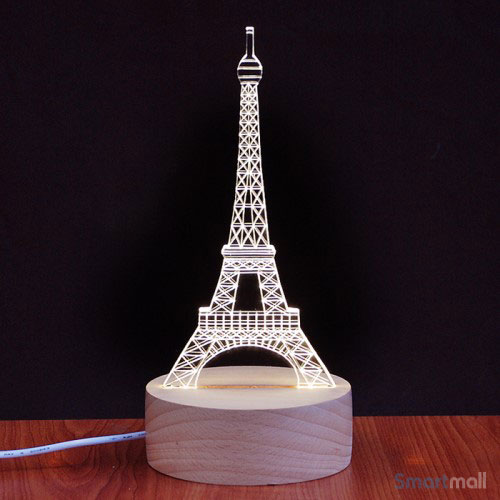 Unik Eiffel Tower 3D illusion natlampe med LED lys & USB kabel