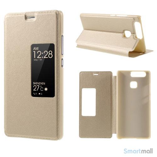 Vindue smart lædercover m/stand til Huawei P9 - Guld farve