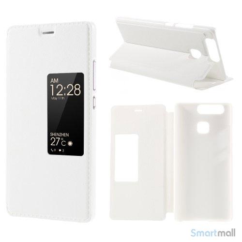 Vindue smart lædercover m/stand til Huawei P9 - Hvid