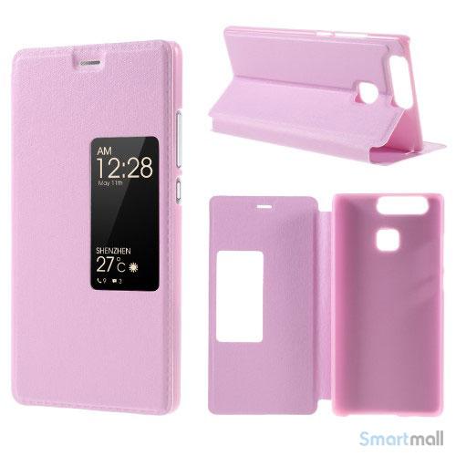 Vindue smart lædercover m/stand til Huawei P9 - Pink