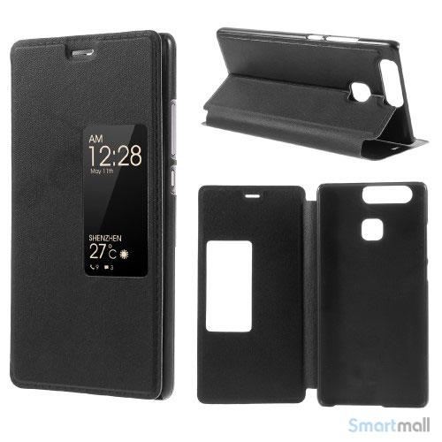 Vindue smart lædercover m/stand til Huawei P9 - Sort