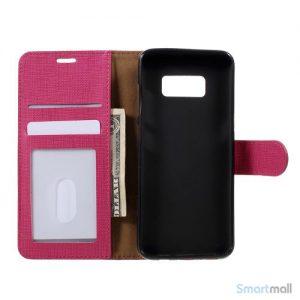 Cover m/kortholder i kontrastfarvet design til Samsung Galaxy S8 – Rosa