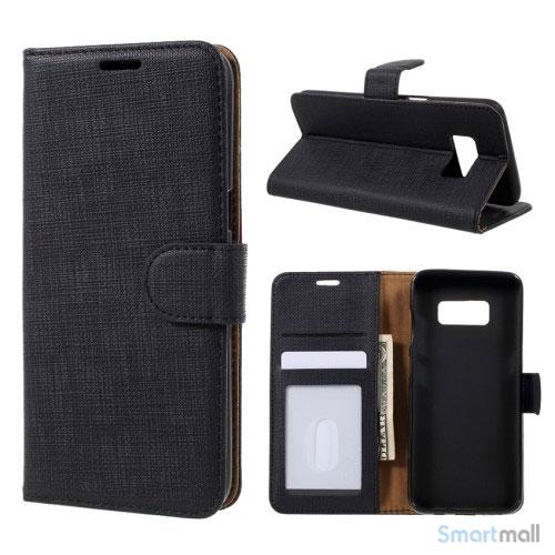 Cover m/kortholder i kontrastfarvet design til Samsung Galaxy S8 – Sort