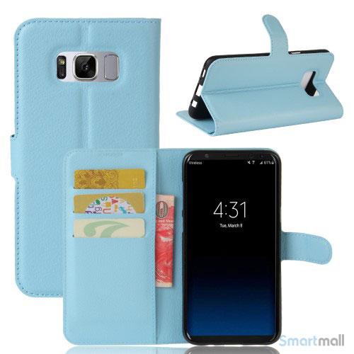 Cover-pung m/kreditkortholder i pink til Samsung Galaxy S8 - Babyblå