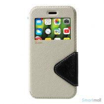 Flip-cover fra ROAR KOREA med vindue & kortholder til iPhone X / 10 - Hvid