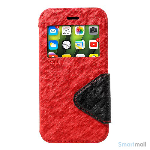 Flip-cover fra ROAR KOREA med vindue & kortholder til iPhone X / 10 - Rød