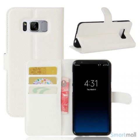 Flot Lychee cover-pung m/kreditkortholder til Samsung Galaxy S8 - Hvid