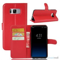 Flot Lychee cover-pung m/kreditkortholder til Samsung Galaxy S8 - Rød