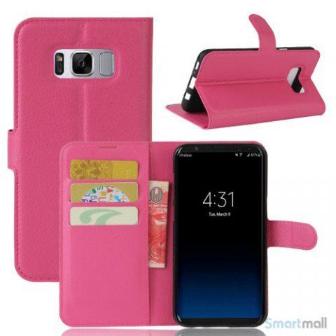 Flot Lychee cover-pung m/kreditkortholder til Samsung Galaxy S8 - Rosa
