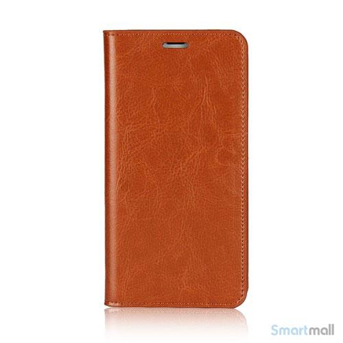 Flot læderpungs-cover fra Crazy Horse m:kortholder til iPhone X / 10 - Brun