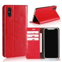 Flot læderpungs-cover fra Crazy Horse m:kortholder til iPhone X / 10 - Rød
