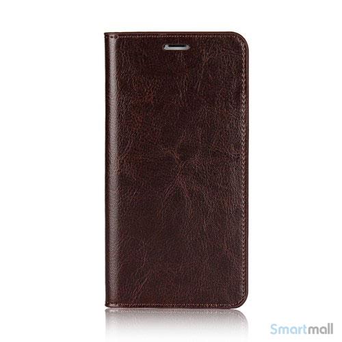 Flot læderpungs-cover fra Crazy Horse m:kortholder til iPhone X / 10 - Kaffefarve