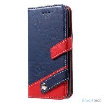 Lichi Grain læderpung m/kortholder & standfunktion til iPhone X/10 - Mørkeblå